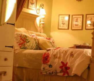 bedroom with floral bedspread