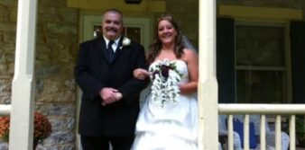 bride and father on porch