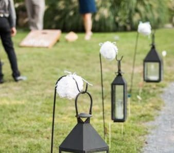 lantern along outside path