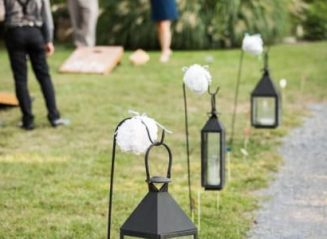 lantern along outside path