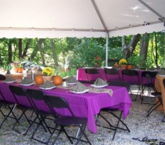 tables with purple tablecloths under tent