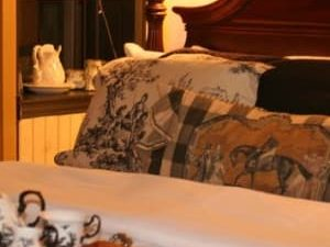 brown wood bed